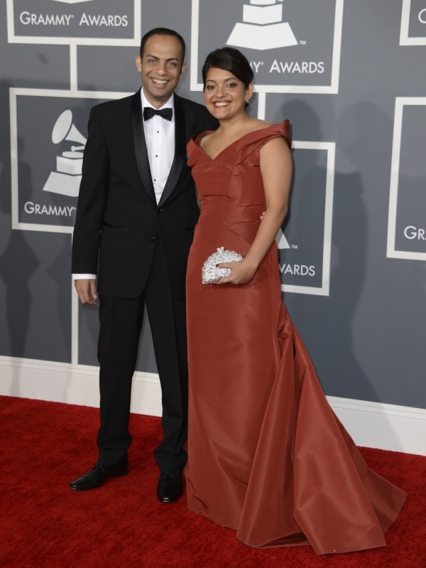 Bangalore's musician Arun Shenoy and art director wife, Roshni Mohapatra arrive for the 55th Annual Grammy Awards in Los Angeles, California, USA 10 February 2013. EPA/MIKE NELSON