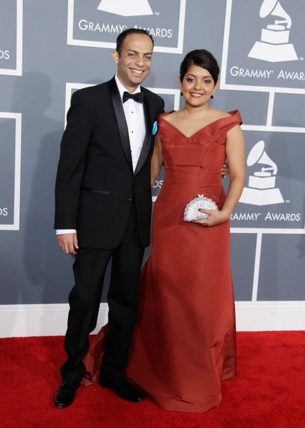 Arun Shenoy (L) and Roshni Mohapatra attend the 55th Annual GRAMMY Awards at STAPLES Center on February 10, 2013 in Los Angeles, California. (Photo by Jeff Vespa/WireImage)