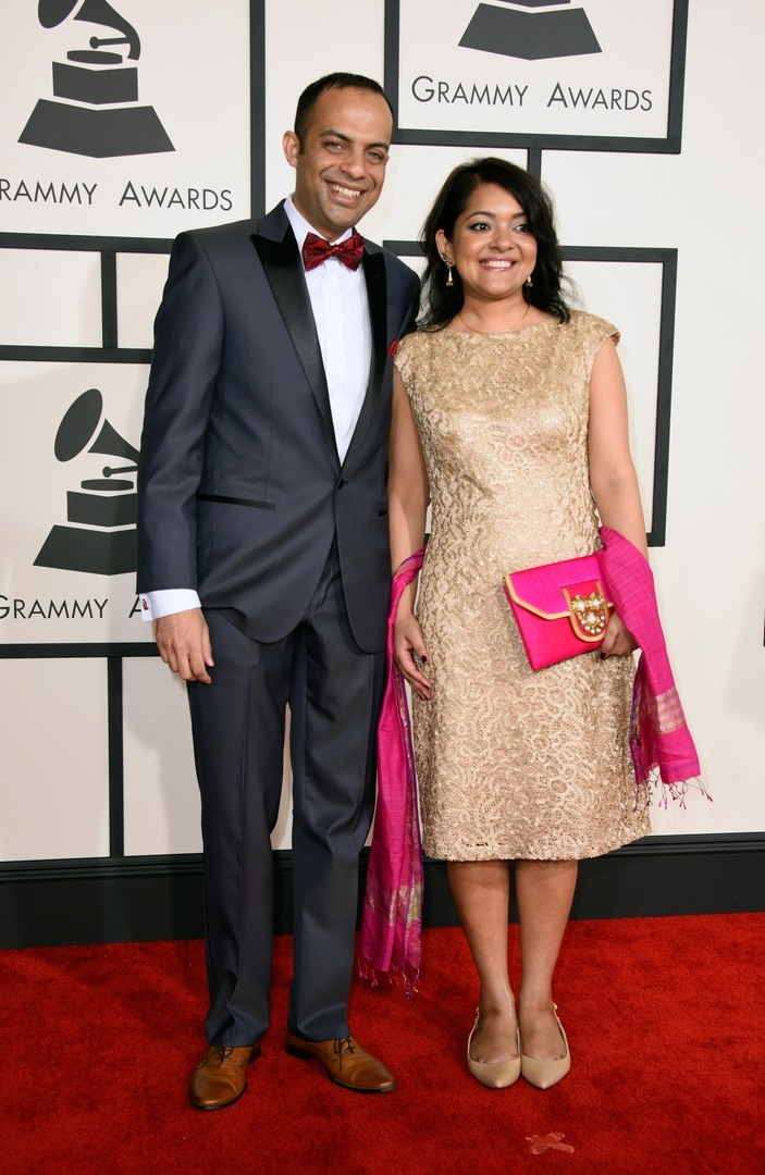 Composer Arun Shenoy (L) and Roshni Mohapatra attend The 57th Annual GRAMMY Awards at the STAPLES Center on February 8, 2015 in Los Angeles, California. (Photo by Jeff Vespa/WireImage)