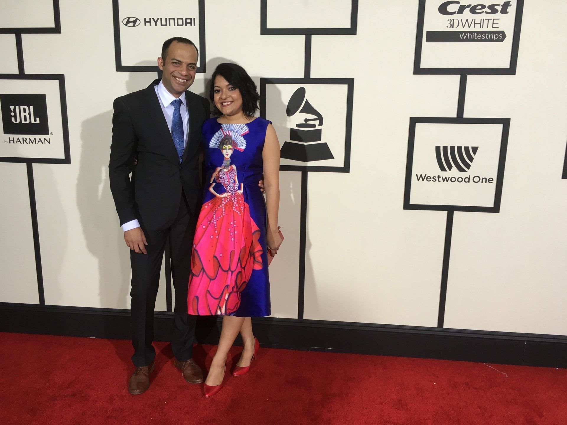 Arun Shenoy and Roshni Mohapatra attend the 58th Annual GRAMMY Awards at STAPLES Center on February 15, 2016 in Los Angeles, California.