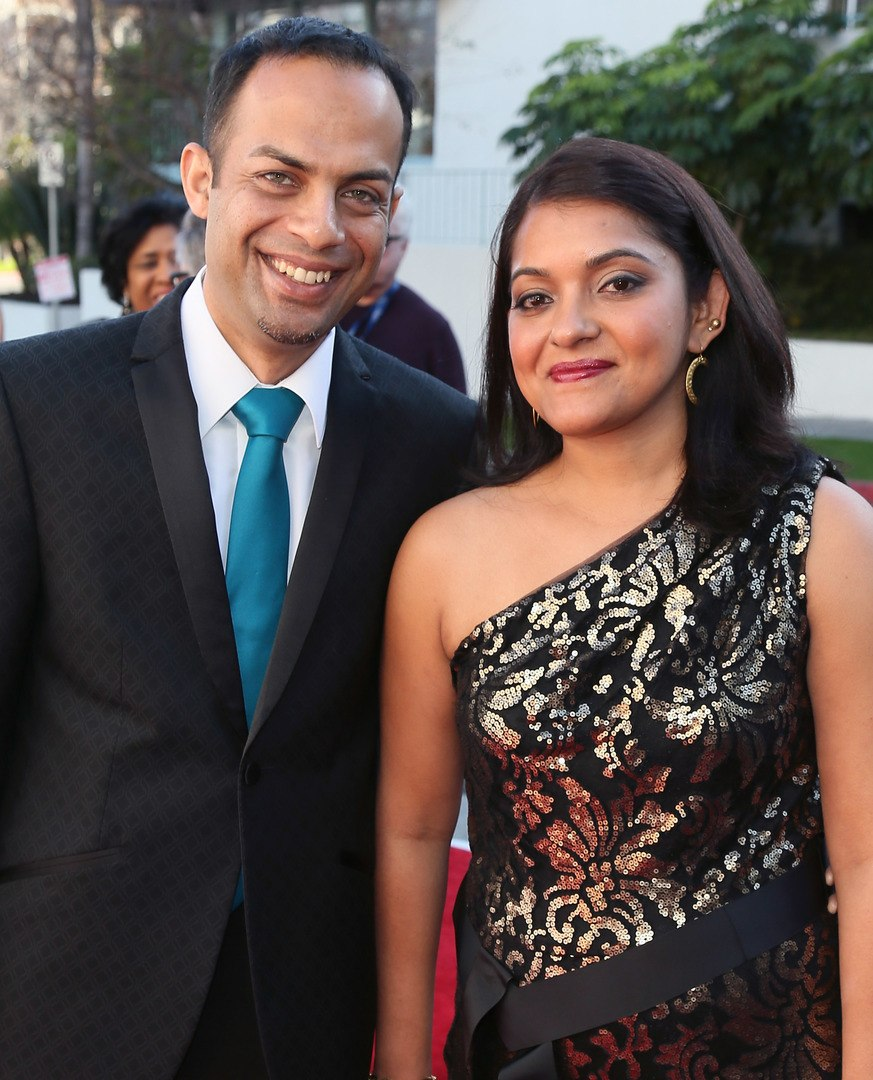 Musician Arun Shenoy (L) and wife Roshni Mohapatra attend The Recording Academy Special Merit Awards Ceremony at the Wilshire Ebell Theatre on February 9, 2013 in Los Angeles, California. (Photo by David Livingston/Getty Images)